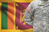 American Soldier With Flag On Background - Sri Lanka