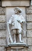 VIENNA, AUSTRIA - OCTOBER 10: Franz Koch: Soldier of Wallenstein, on the facade of the Neuen Burg on Heldenplatz in Vienna, Austria on October 10, 2014.