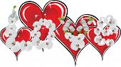 illustration with red hearts and orchid flowers isolated on white background