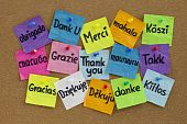 stock photo of thank you note  - Thank you in sixteen languages  - JPG