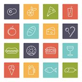 Food vector line icons set. Collection of 16 modern food line icons in rounded squares vector illustration