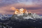 Mount Pelmo During Sunrise In Winter