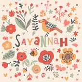 Bright card with beautiful name Savannah in poppy flowers, bees and butterflies. Awesome female name design in bright colors. Tremendous vector background for fabulous designs