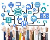 Arms Raised Global Communications Social Networking Online Concept