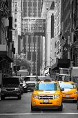 Fifth avenue neighborhood yellow cab taxi 5 th Av New York Manhattan USA