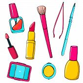 Makeup vector tools and accessories