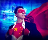 Superhero Businessman Chinese Stock Market Concept
