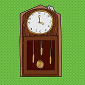 stock photo of nursery rhyme  - Mouse on top of antique grandfather clock over green - JPG