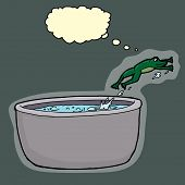 image of boiling water  - Smart green frog jumping out of boiling pot of water - JPG