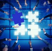 Jigsaw Puzzle Support Team Cooperation Togetherness Unity Concept