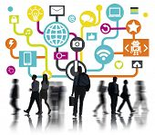 Global Communications Social Networking Commuter Walking Online Concept