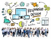 Responsive Design Web Business People Looking Up Concept