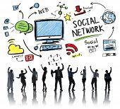 Social Network Social Media Business People Celebration Concept