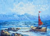Original Oil Painting On Canvas - Sailing In The Ocean