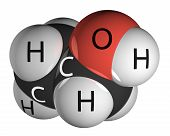 stock photo of ethanol  - Ethanol molecule isolated on white - JPG