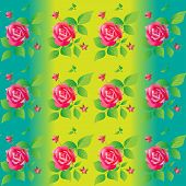 Bright color seamless pattern with beautiful roses. Vector illustration.