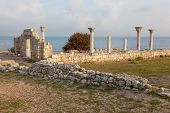 Colonnade in ruins of the Ancient Greek city of Chersonese