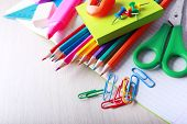 School supplies on desk, close-up