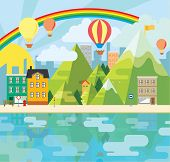 Charming and cheerful vector graphic city illustration