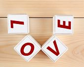 Love spelled in wooden blocks