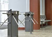 Turnstile controlling access to the building