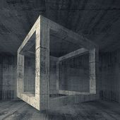 Abstract Dark Gray Concrete Room Interior. 3D Flying Cube