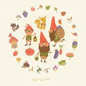 image of gnome  - Cute picture of a gnome garden and flowers - JPG