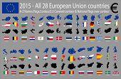 2015 - All 28 European Union countries, A-Z Names,Flags,Contour,E.U Covered contour & National flags