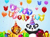 Birthday background with cartoon lion and panda