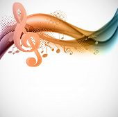 foto of clefs  - Colorful wavy music background with notes and g - JPG