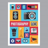 Photography - mosais flat design poster. Vector icons set.