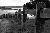 A fence along the pathway to the beach in Brittany