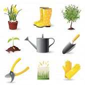Gardening icons set - vector illustration
