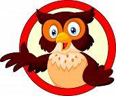 Cartoon a Smiling Owl Waving