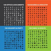 400 holidays, business, health, industry, office, document, industry icons, signs, illustrations set, vector