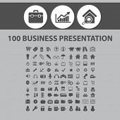 100 business presentation, management, marketing, sales, infographics, finance icons, signs, illustrations set, vector