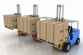 Three loaders with cargo. 3d image on a white background
