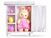 Rabbit Bunny Toy And Easter Eggs Ona Wood Case Isolated