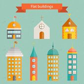 Set of flat building icons
