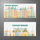 Set of templates for cards with flat building