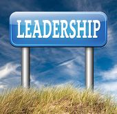 image of leader  - natural leader great leadership in business and other markets road sign - JPG