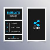 Business card template - vertical black and blue modern clean design