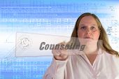 foto of counseling  - Business woman pushing on a virtual button counseling - JPG