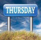 thursday sign event calendar or meeting schedule