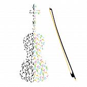 picture of violin  - Image of the violin made from music notes - JPG