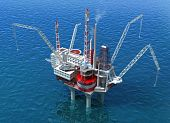 picture of oil drilling rig  - Sea Oil Rig Drilling Structure 3D image render - JPG
