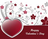 Valentines day background with floral pattern and red heart