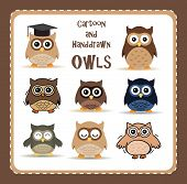 collection of nine cute cartoon and hand-drawn owls