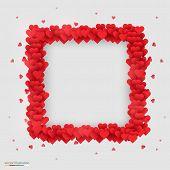 Rectangle photo frame made of many hearts