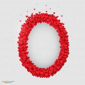 Oval photo frame made of many hearts